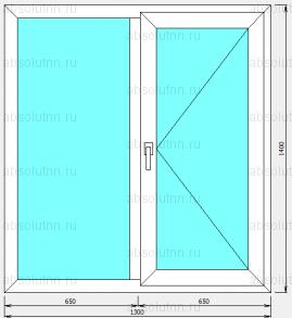 Пластиковое окно 1300 х 1400 (поворотное)