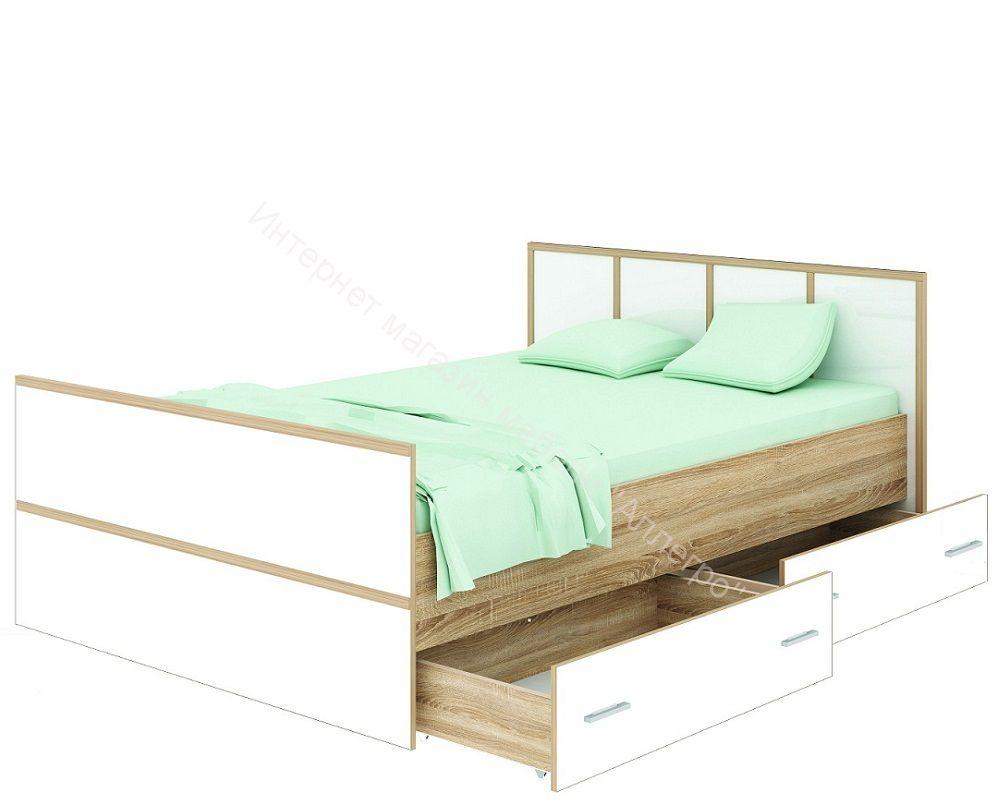 """Кровать """"Сакура"""" с ящиками 1600*2000 Дуб сонома/Белый глянец"""