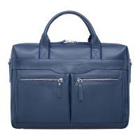 Деловая мужская кожаная сумка Lakestone Dorset Dark Blue