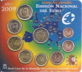 Официальный набор евро-монет  Испания 2009 BU (8 монет)