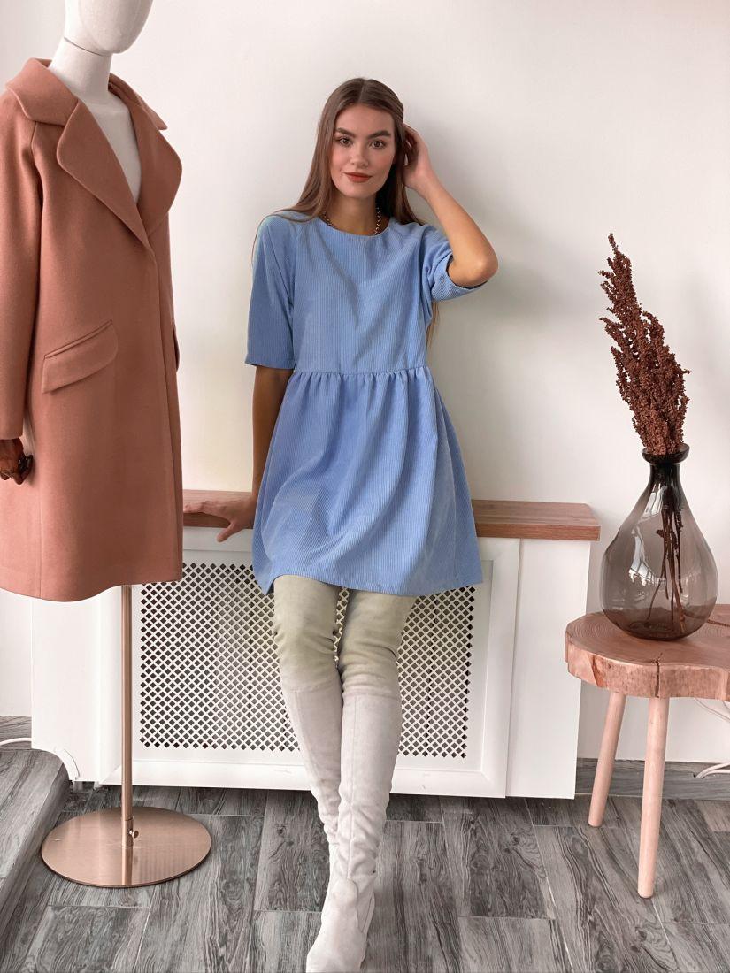 s3108 Платье вельветовое небесно-голубое