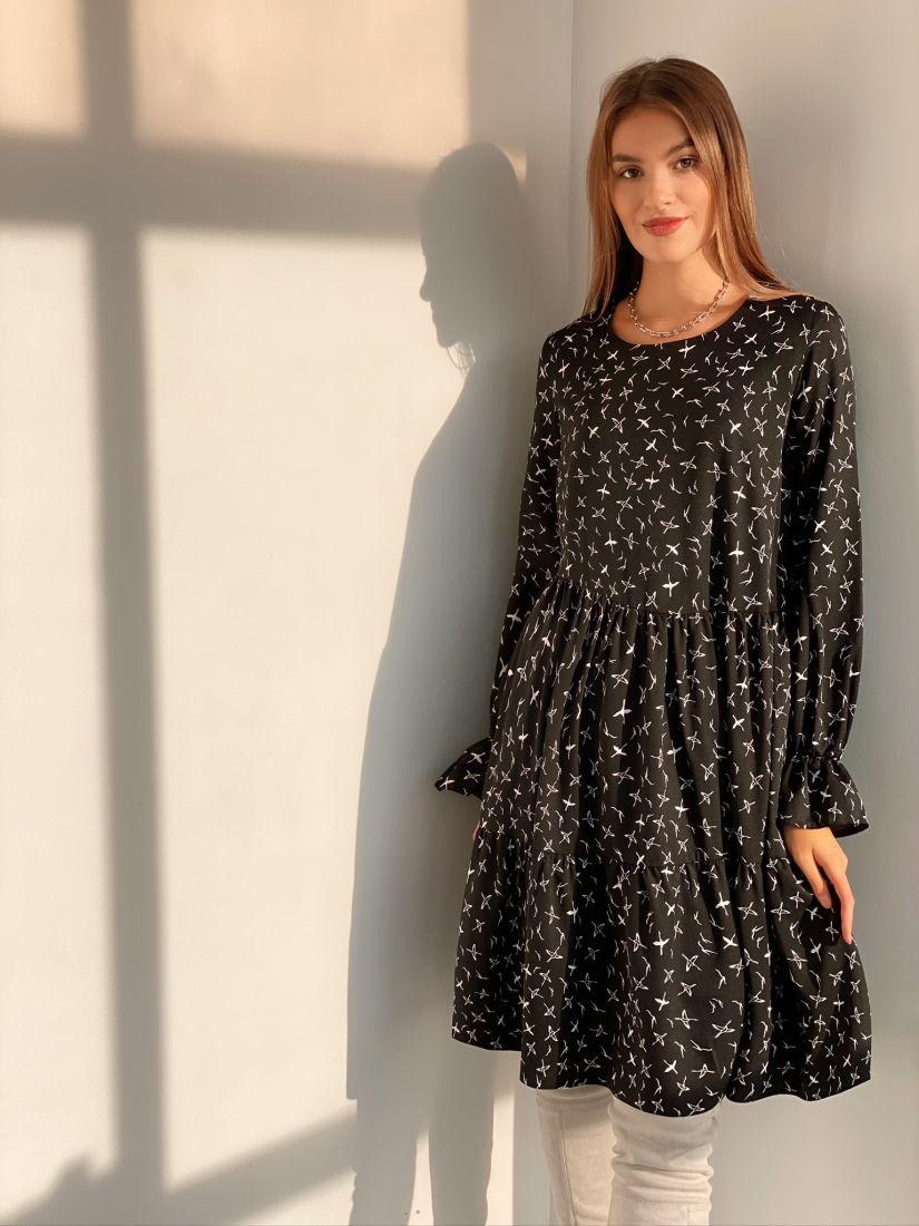 s3114 Платье трёхъярусное чёрное с птичками