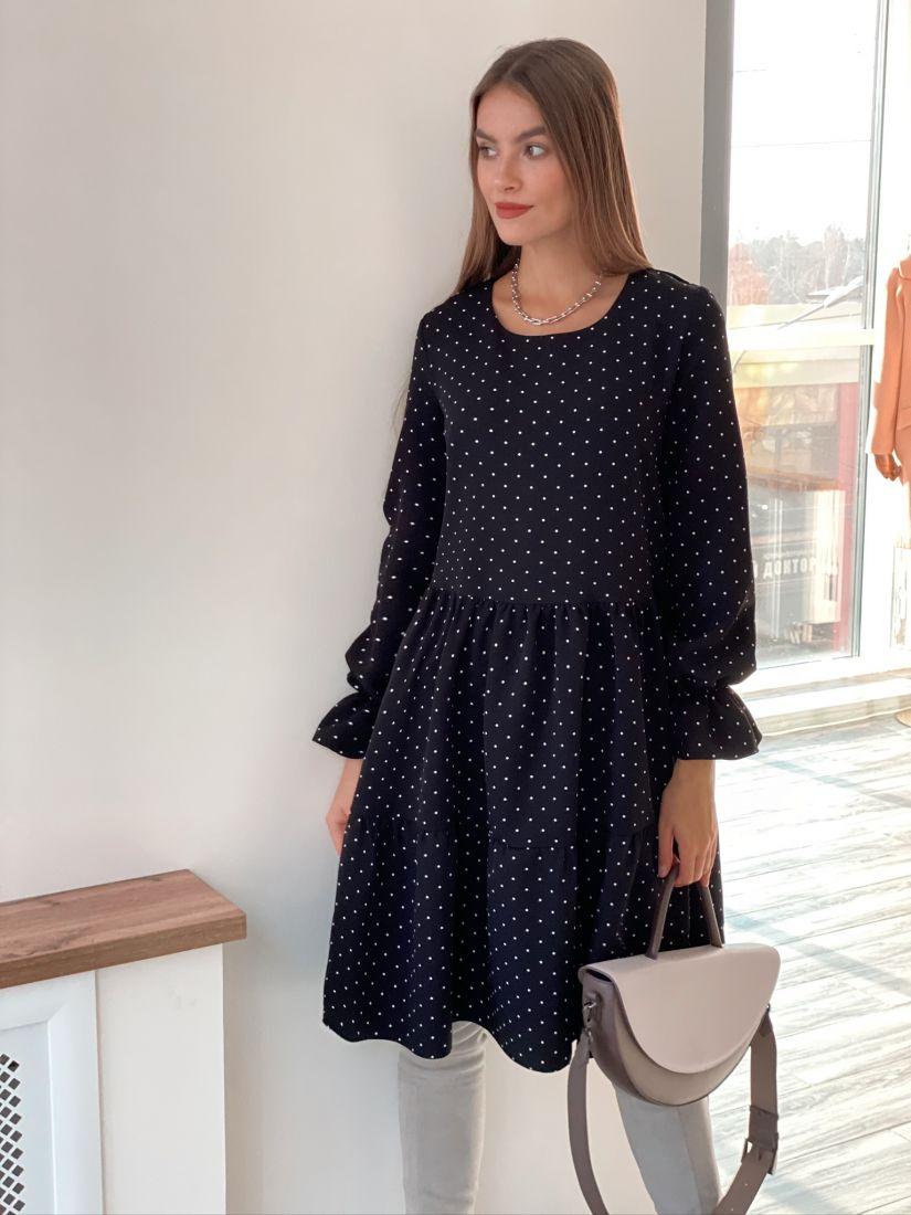 s3115 Платье трёхъярусное в горох чёрное