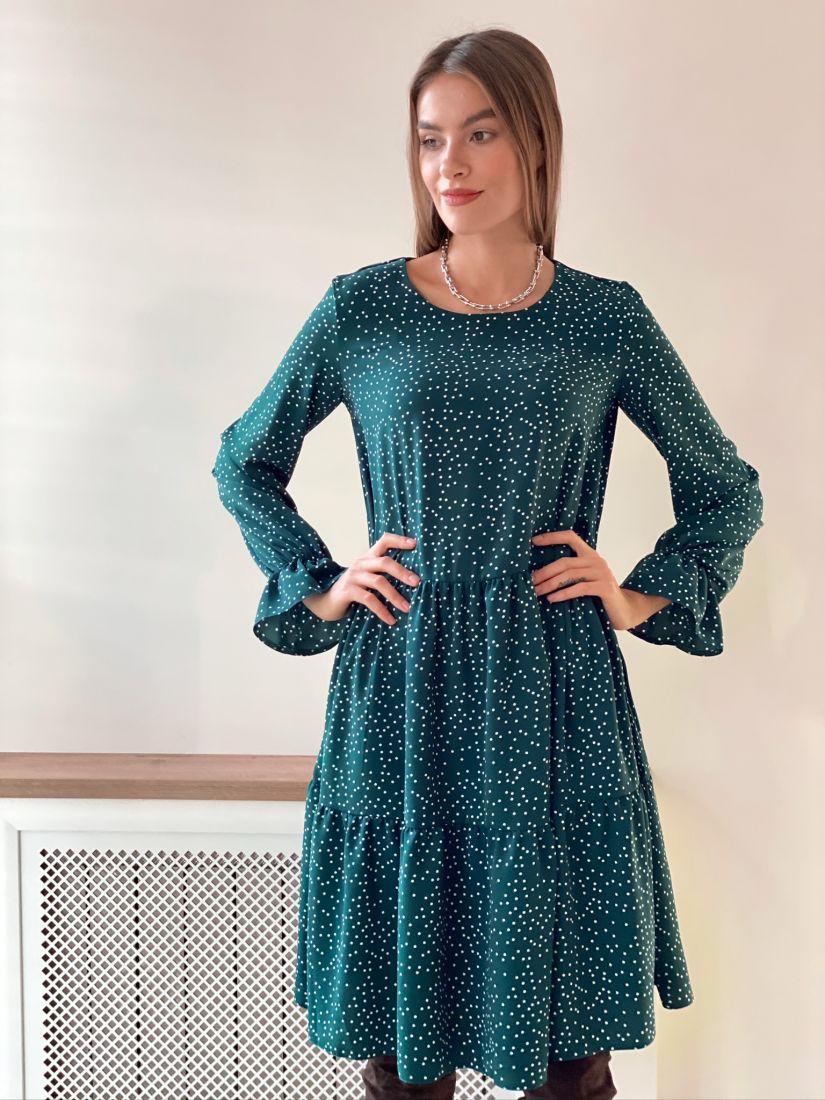 s3116 Платье трёхъярусное изумрудное с хаотичным горошком