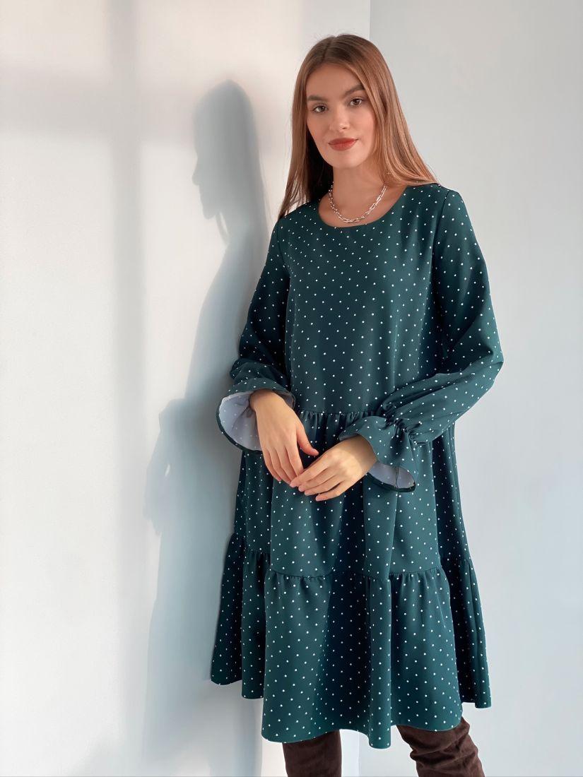 s3118 Платье трёхъярусное изумрудное
