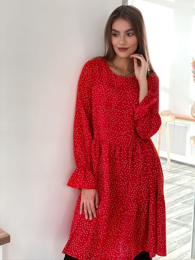 s3120 Платье трёхъярусное красное с хаотичным горошком
