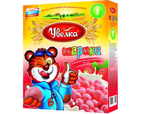 Завтрак Шарики с клубнично-йогуртовым вкусом, глазированные сахарным сиропом 200г Увелка