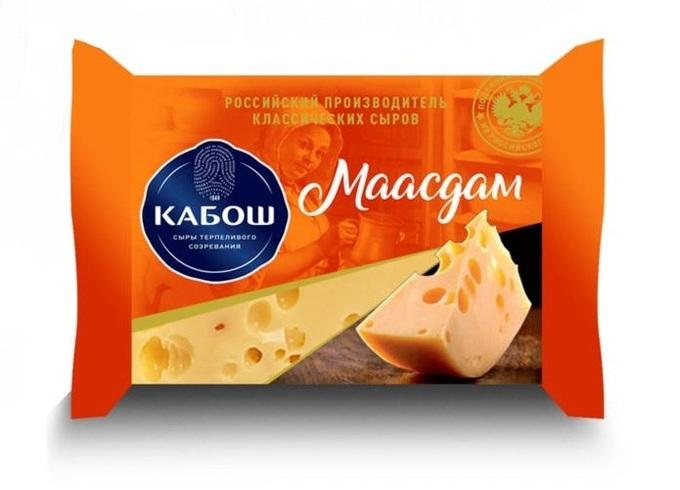 Сыр Кабош полутвердый Маасдам Голландская рецептура 45% 200г Великие Луки
