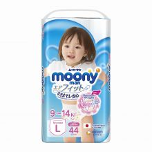 Японские подгузники-трусики Moony L 44 для девочек, 9-14 кг. Экспортные