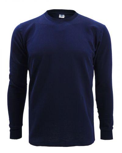 Однотонный лонгслив с начесом для мужчин 48-56  BR101 темно-синий