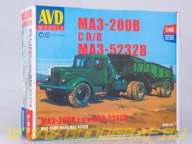 Сборная модель МАЗ-200В с полуприцепом МАЗ-5232В