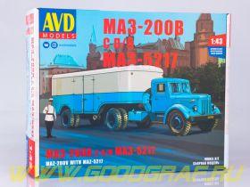 Сборная модель МАЗ-200В с полуприцепом МАЗ-5217