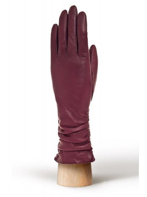 Кожаные перчатки с декоративными складками ELEGANZZA