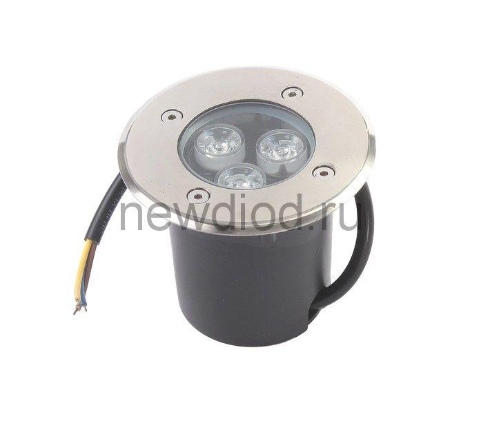 Светильник встраиваемый светодиодный грунтовый Luazon 3 Вт, d=90 мм, IP65, 220В, КРАСНЫЙ
