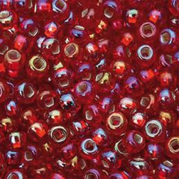 Бисер чешский 97079 красный прозрачный радужный серебряная линия внутри Preciosa 1 сорт