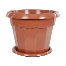 """Горшок для цветов """"Гармония"""" 4л 230мм с поддоном (коричнев.) """"Альтернатива"""" M1576"""