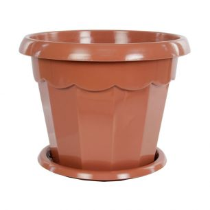 """Горшок для цветов """"Гармония"""" 2,5л 200мм с поддоном (коричнев.) """"Альтернатива"""" M1575 - все для сада, дома и огорода!"""