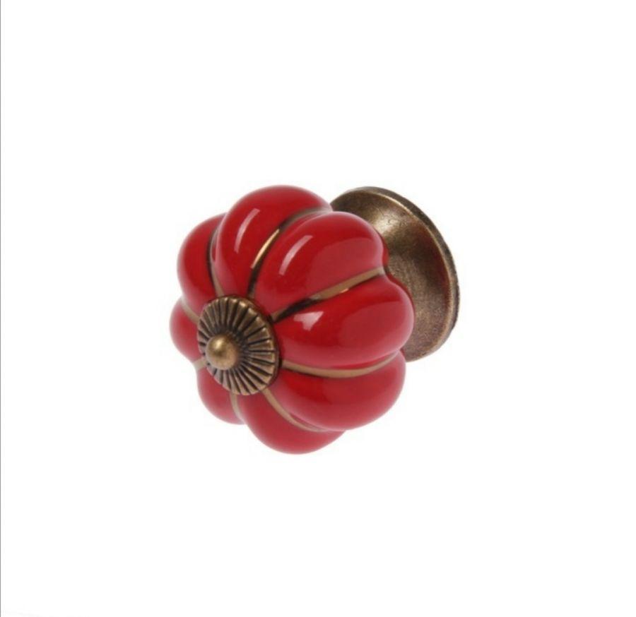 Ручка кнопка керамическая, Красная, 4 см