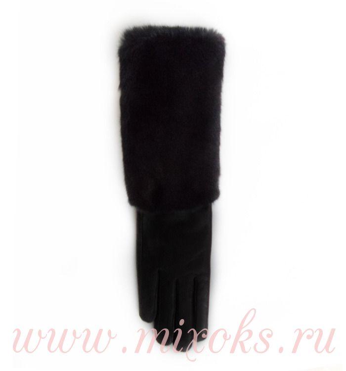 Перчатки длинные 33см черные из меха