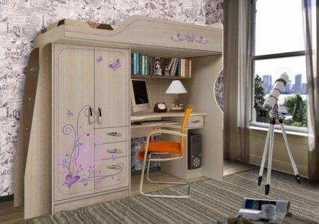 Кровать-чердак с встроенным столом Фанки Кидз Лилак ЛК-4 изголовье слева/справа