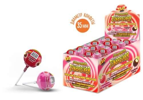 ЗУБОДРОБИЛКА Ураган сладких вкусов многослойная конфета на палочке с надувной резинкой и жидким центром