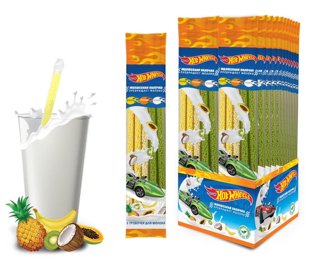 HOT WHEELS трубочки для молока 5шт. (кокос тропик банан)
