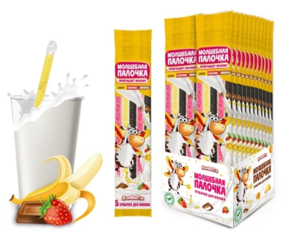 МОЛШЕБНАЯ ПАЛОЧКА трубочки для молока 5шт. (банан клубника шоколад)