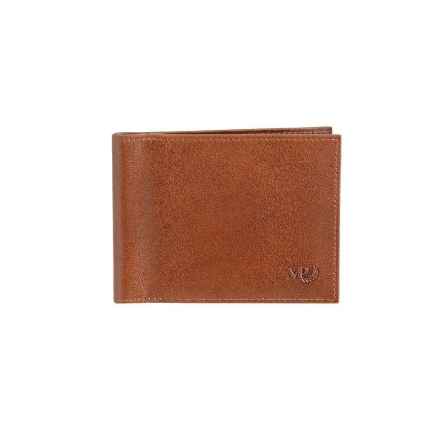 Зажим для купюр с монетником и RFID защитой Marta Ponti B120356R Cognac