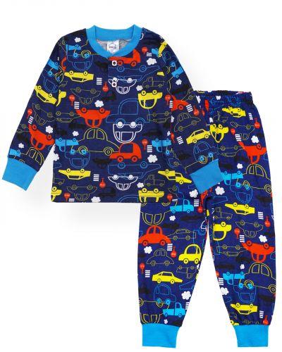 """Пижама для мальчиков 2-6 лет """"Машинки"""" темно-синий"""