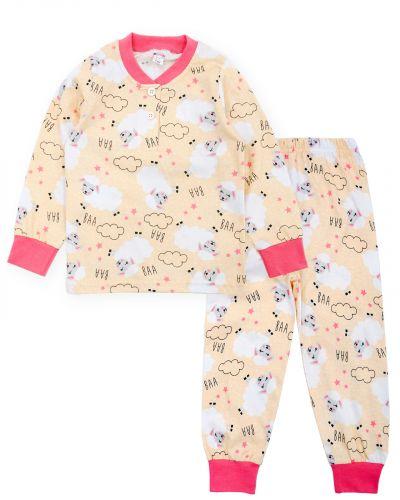 """Пижама для девочек 2-6 лет Bonito """"Овечка"""" бежевая"""