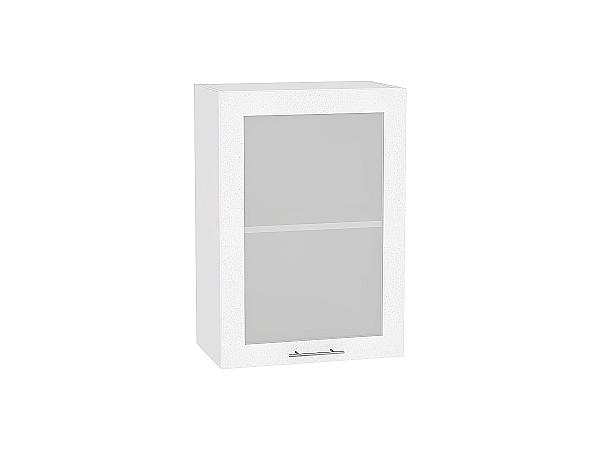 Шкаф верхний Валерия В509 со стеклом (белый металлик)