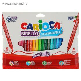Фломастеры двусторонние 24 цвета Carioca Birello 2.6/4.7 мм, картонный конверт
