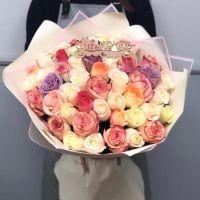 51 роза Кении микс в красивой упаковке