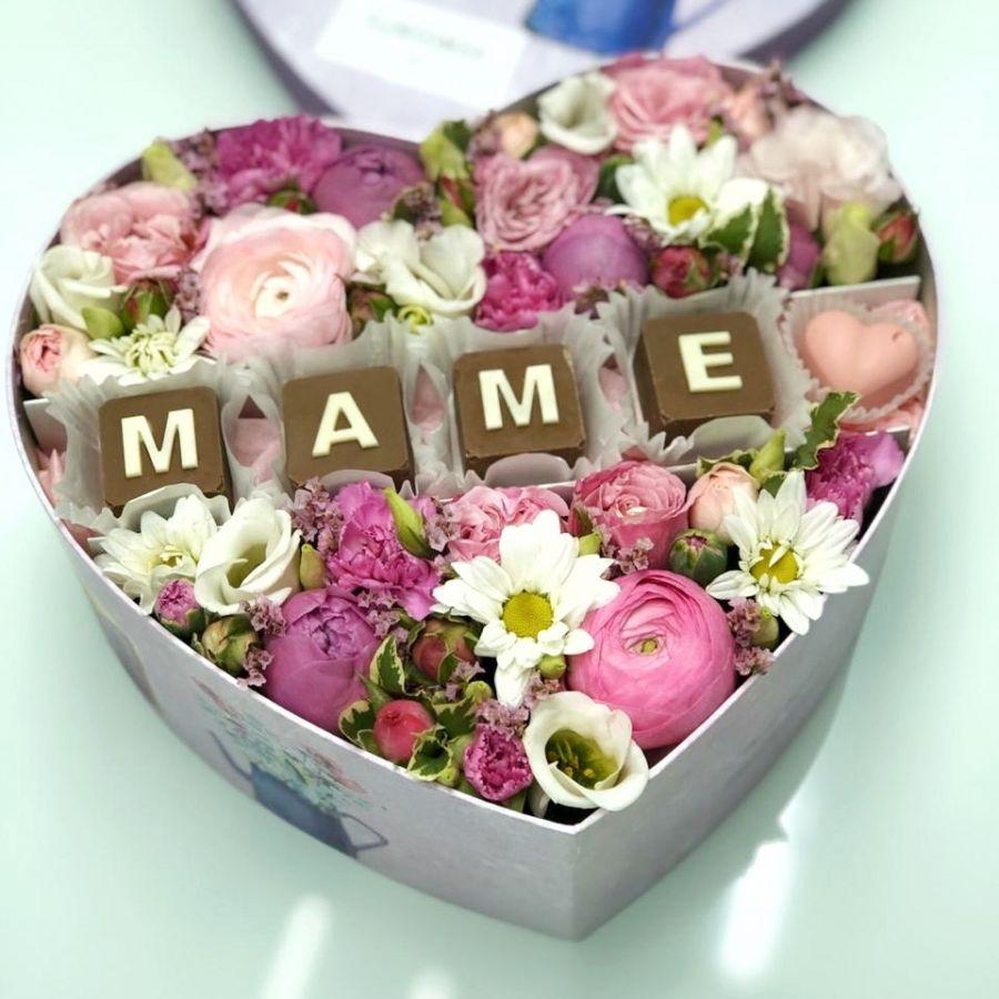 """Коробочка с шоколадными буквами """"Маме"""" №1"""