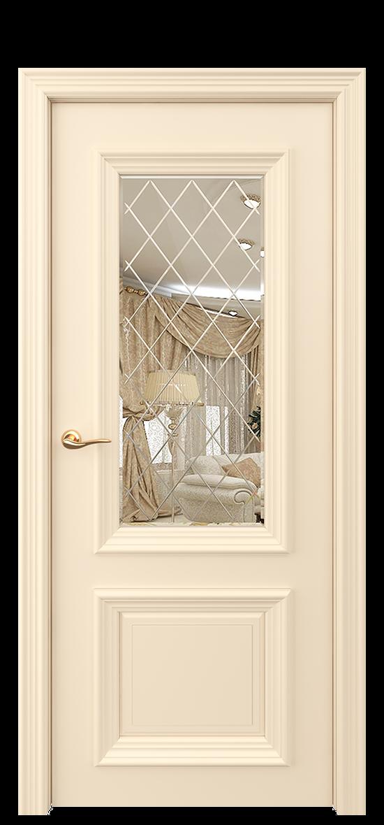 Межкомнатная дверь ОКСФОРД рефлективное стекло с гравировкой и фацетом