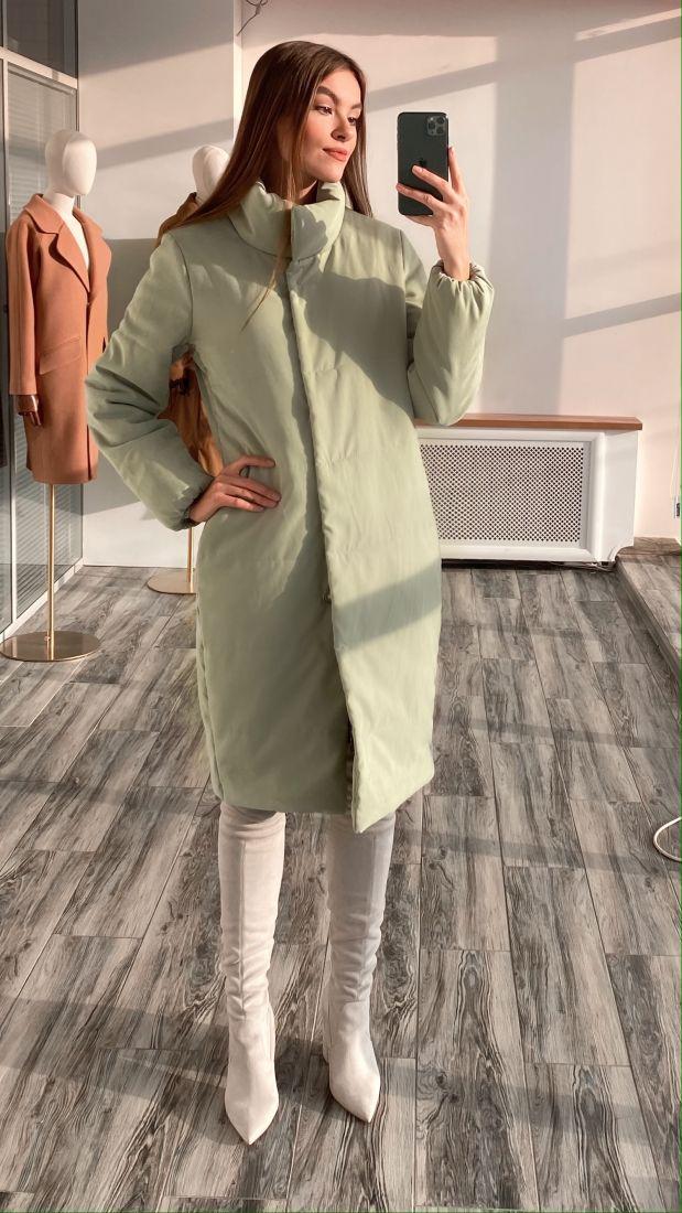 s3165 Пальто утеплённое стёганое premium фисташковое