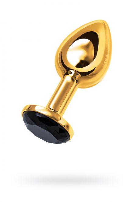 Анальная втулка Metal by TOYFA, металл, золотистая, с черным кристаллом, Ø 3 см