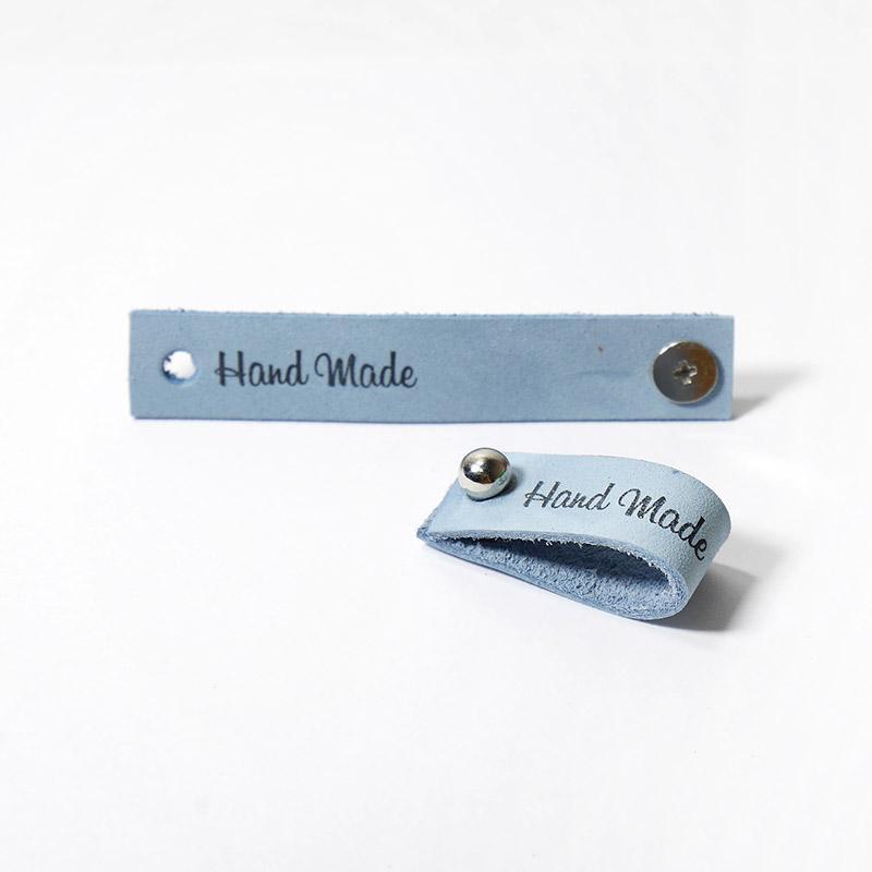 Бирка кожаная Hand Made с кнопкой 1,3х7см Голубой