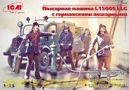 L 1500S LLG, легкая пожарная машина с германскими пожарными (4 фигуры)