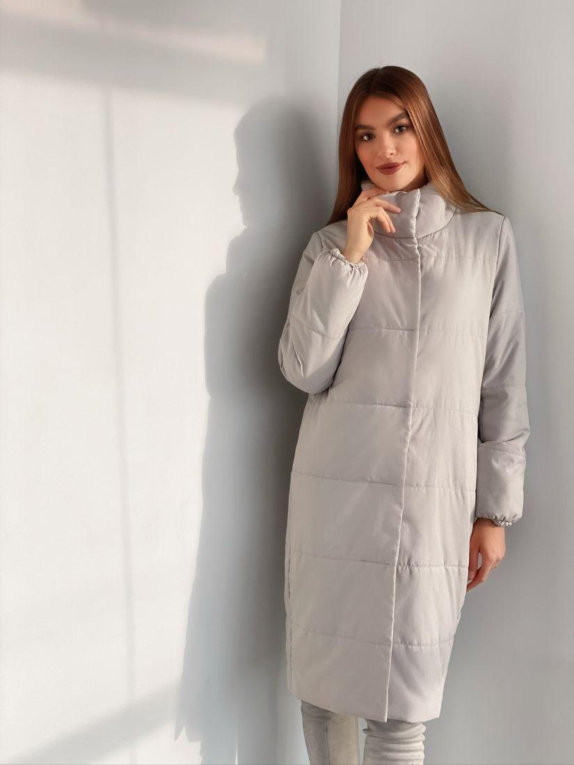s3166 Пальто утепленное стеганое premium серое