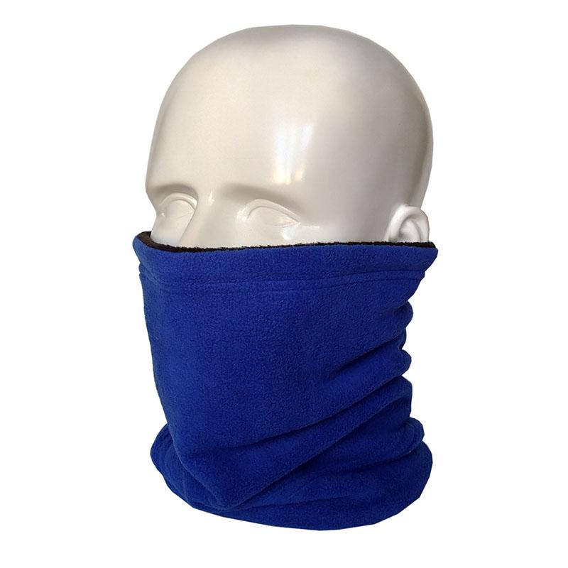 Шапка-шарф с бортиком, синяя