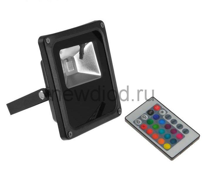 Прожектор светодиодный 10W, COB LED, с пультом, IP66, 220 В, RGB