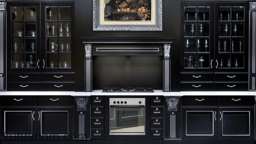 Кухня Olimp (Олимп) черная с порталом