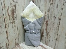 Комплект на выписку 5 предметов, капитон с мехом, цвет серый 02174