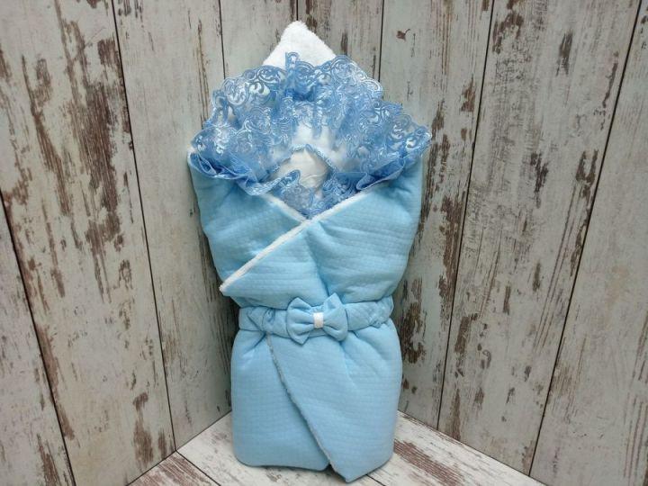 Комплект на выписку 5 предметов, капитон с мехом, цвет голубой 02174-1