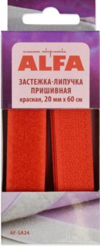 Застёжка-липучка пришивная ALFA- 20мм (красная)