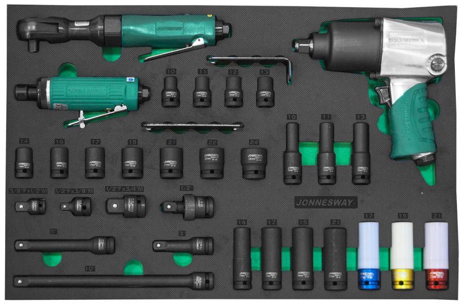 """JA-C231SV Набор пневматического инструмента 1/2""""DR и аксессуаров к ударному инструменту в EVA ложементе 560х400 мм, 31 предмет"""