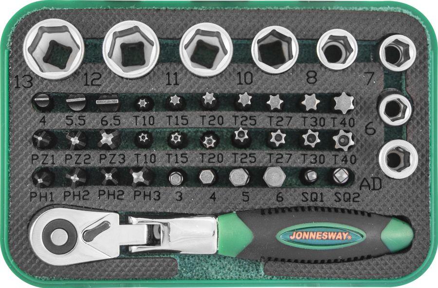 "RD02040S Набор рукоятка трещоточная миниатюрная 1/4""DR со вставками-битами и головками торцевыми , 40 предметов"