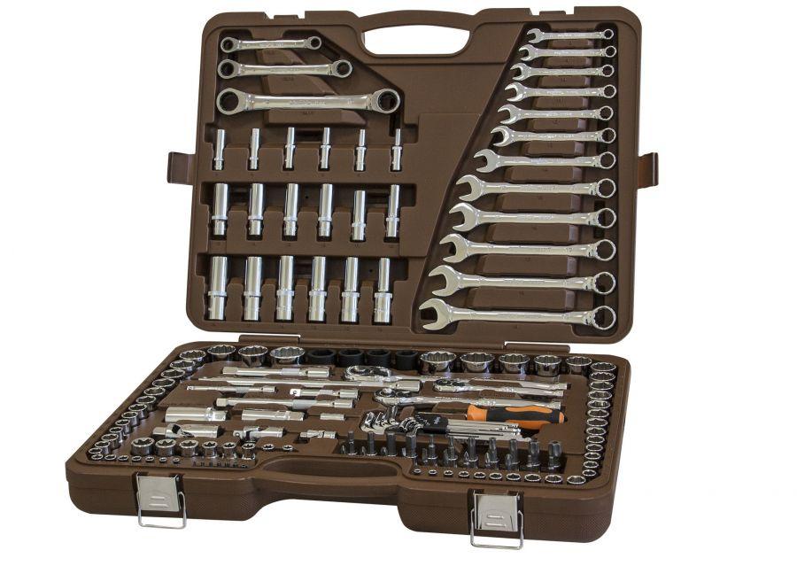 """911150 Специальный набор инструмента, торцевые головки 1/4"""", 3/8"""", 1/2""""DR, 4-32 мм и SAE 5/32""""--1-1/4"""", ударные торцевые головки 1/2""""DR, 17-23 мм, 150 предметов"""