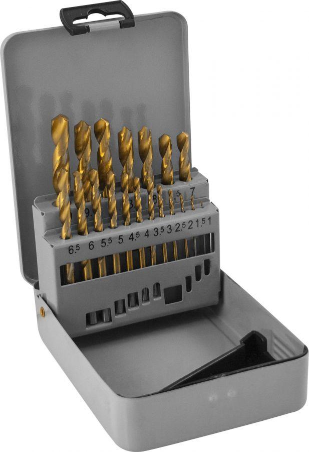 TDBS19 Набор спиральных сверл по металлу HSS TiN в металлическом кейсе, d1.0-10.0 мм, 19 предметов